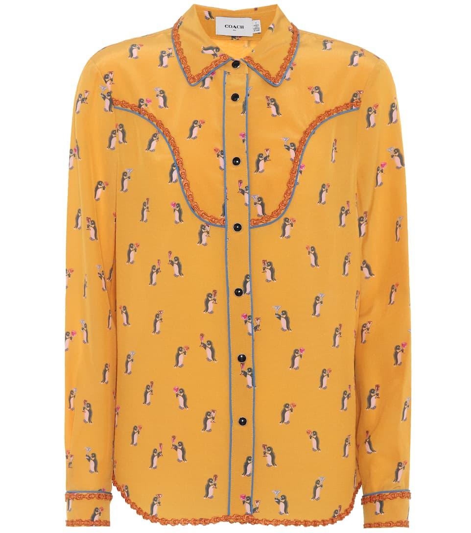 entrenador amarillo pingüino estampada seda Camisa de PUqaHH