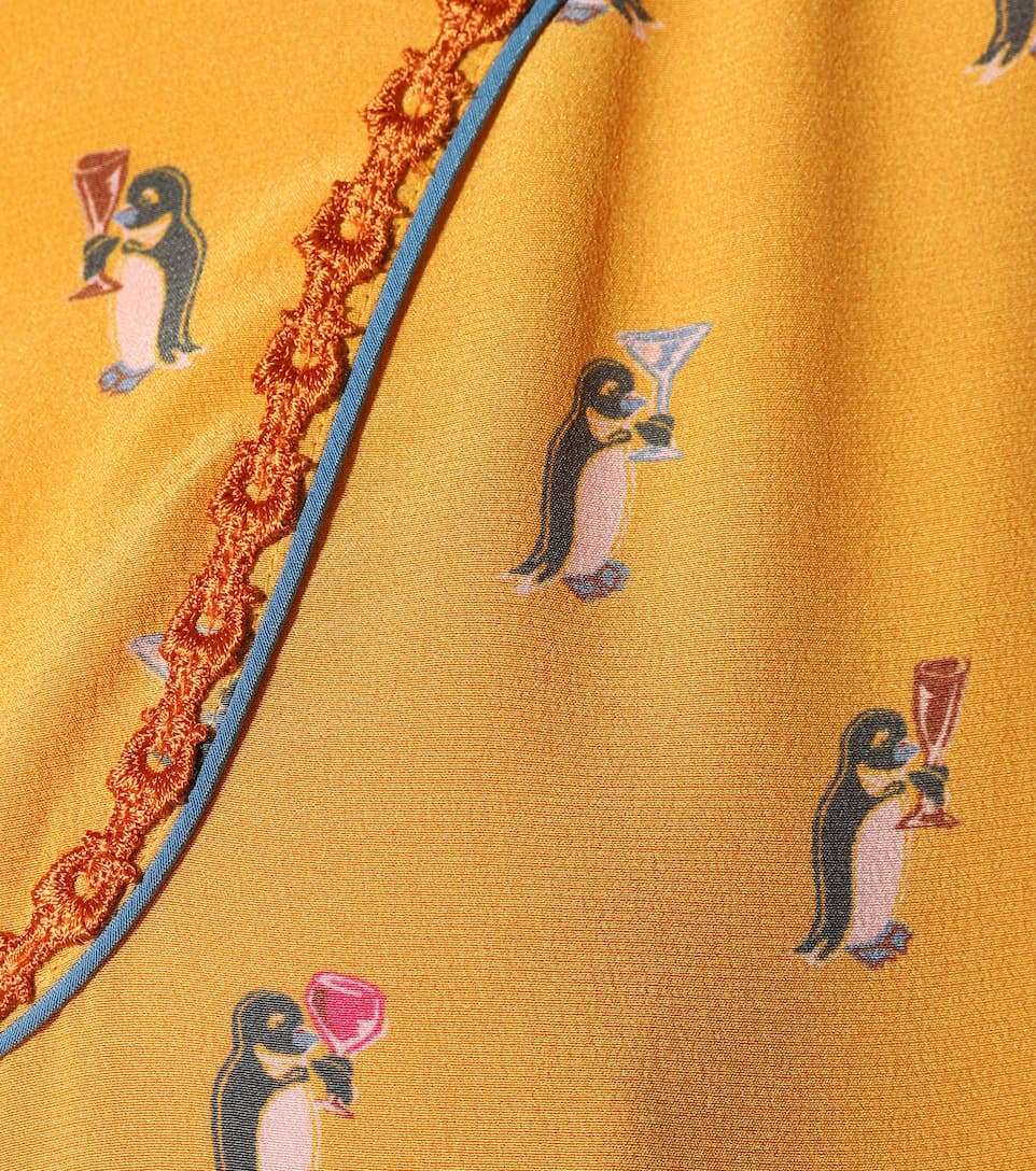 Coach Penguin printed silk shirt Yellow Clearance Looking For w7jgCtM5i2