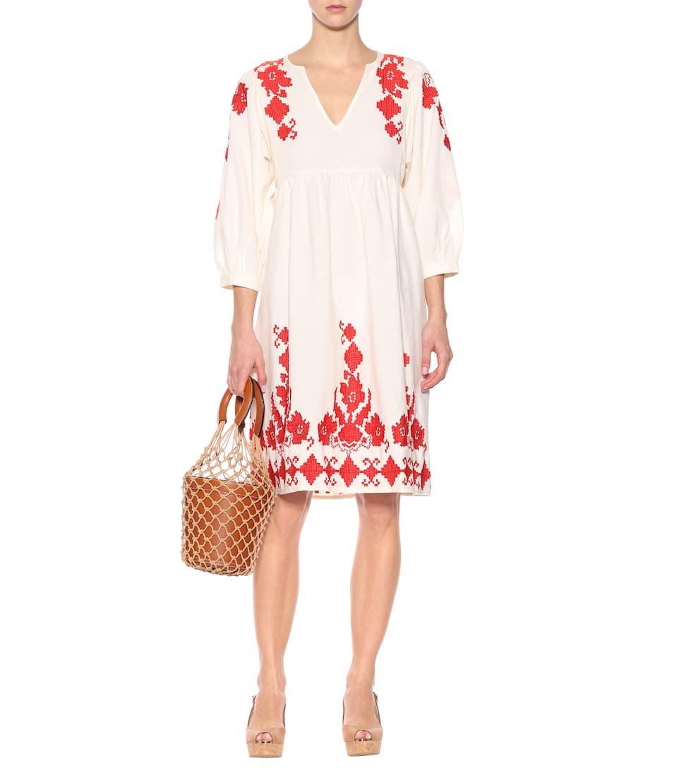 en terciopelo de Crema lino y algodón Vestido Jora zHt41qqw