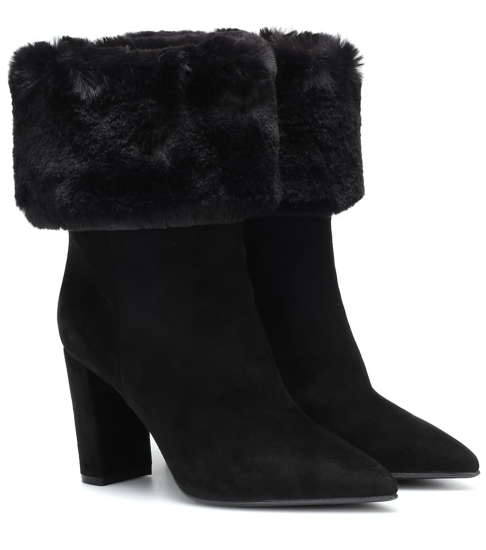 Faux Fur Trimmed Suede Ankle Boots | Gianvito Rossi mytheresa
