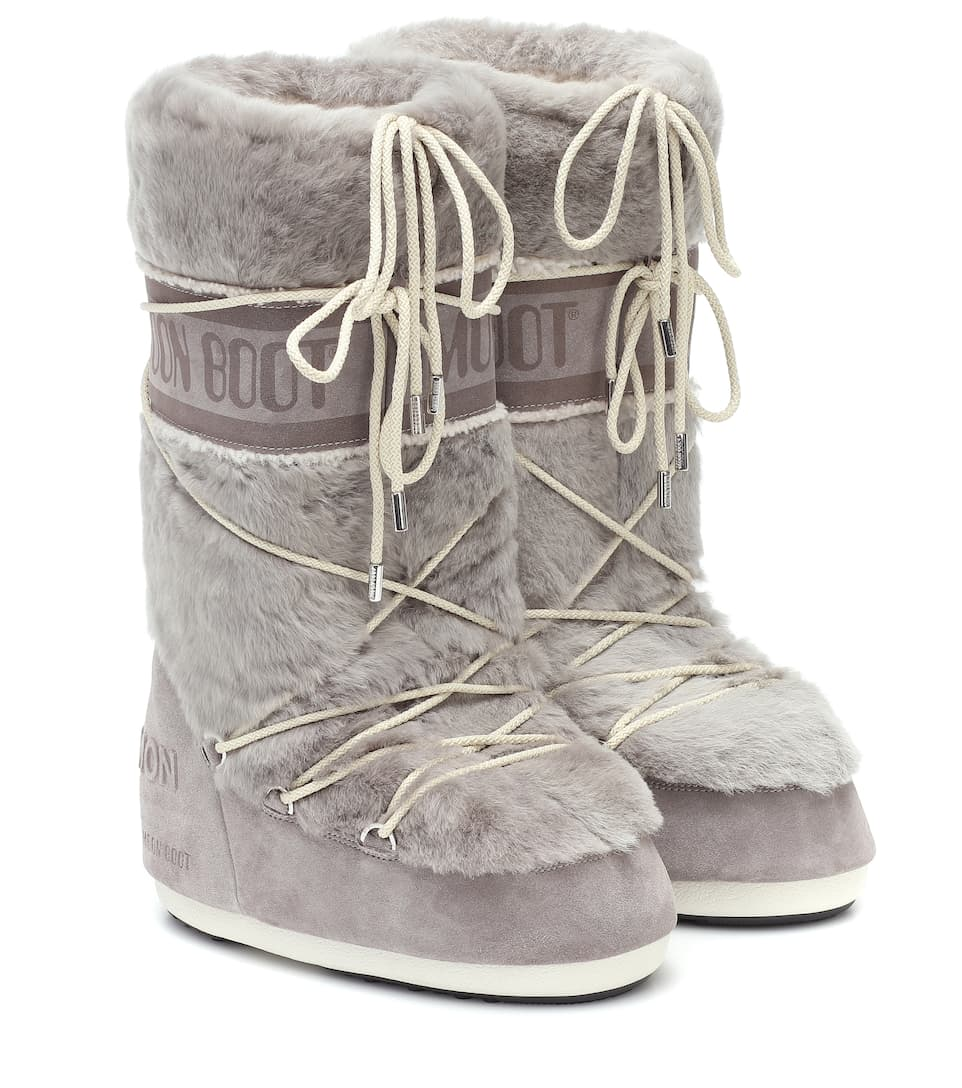 Yves Salomon | + Moon Boot shearling and suede snow boots
