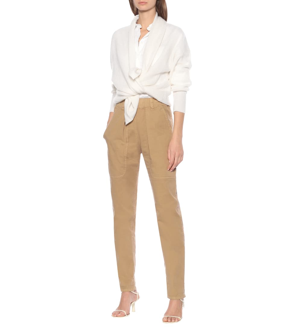 Brunello Cucinelli - High-rise cotton skinny pants