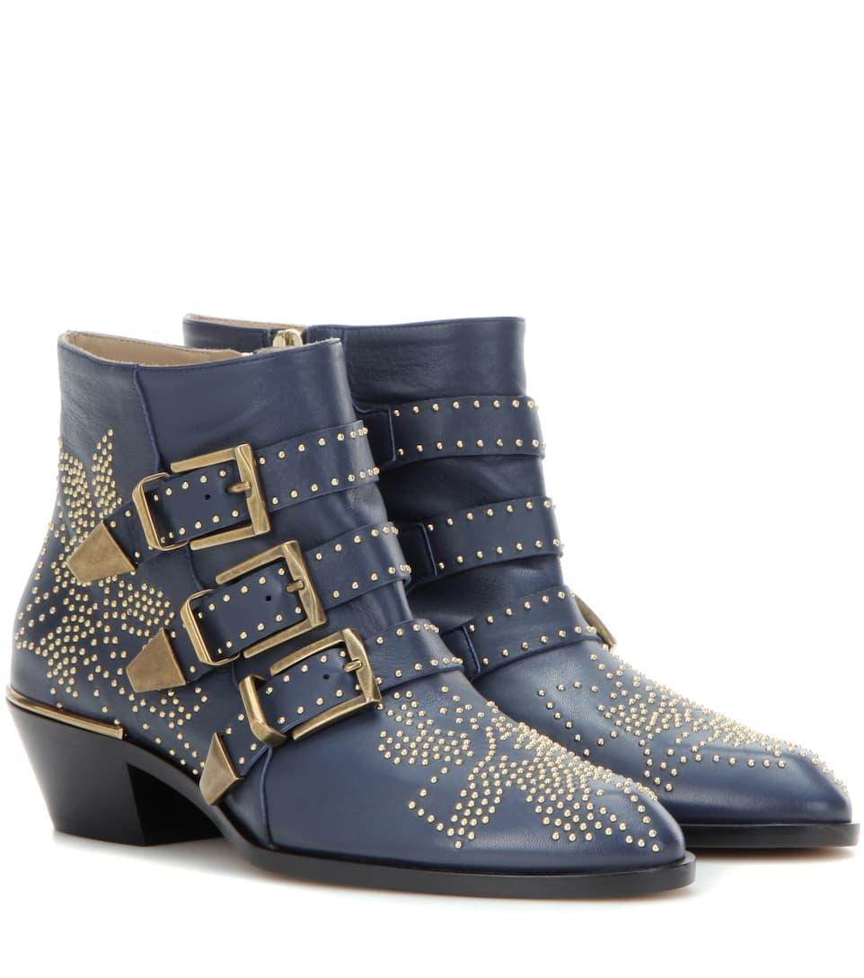 chlo susanna studded leather ankle boots. Black Bedroom Furniture Sets. Home Design Ideas