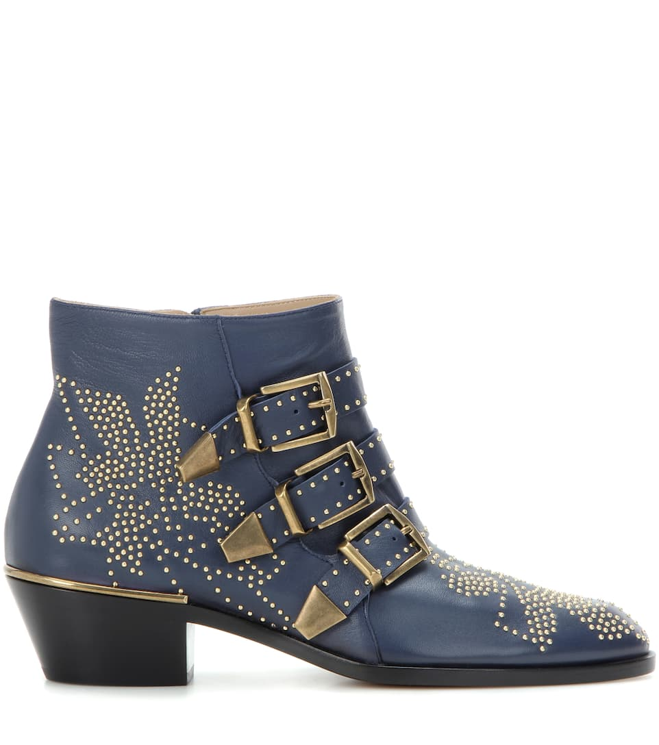 chlo 201 susanna studded buckled leather ankle boots royal