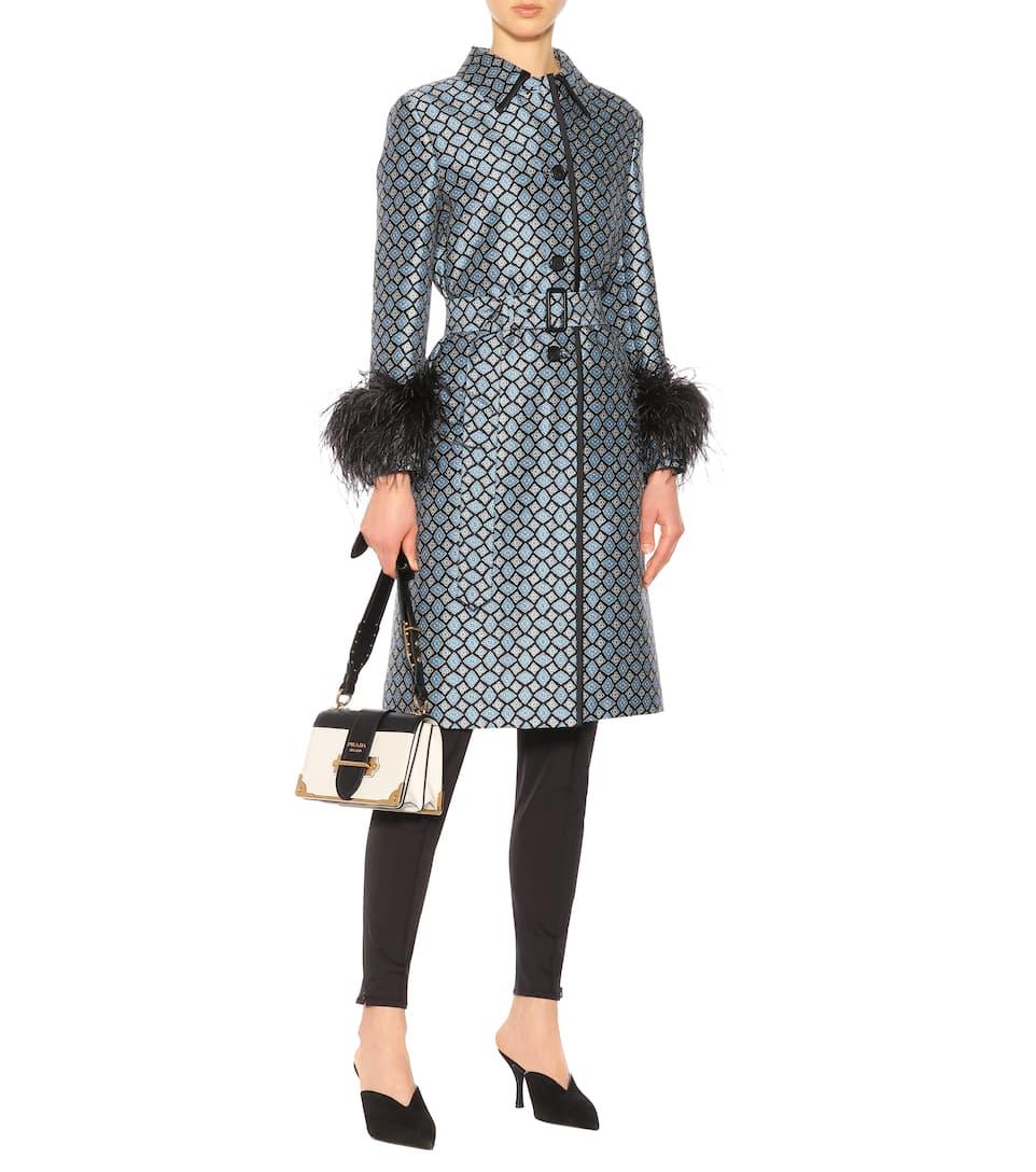 Prada Mantel aus Wolle und Seide mit Federn