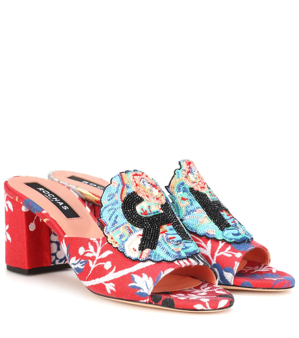 Rochas Beaded jacquard sandals C935vY