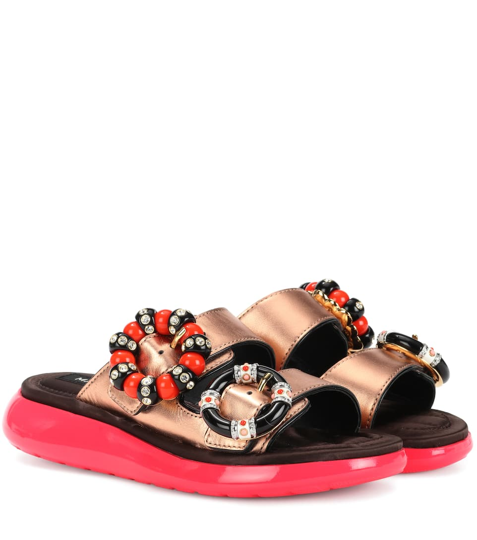Marc Jacobs Embellished Leather Double-Strap Sandals In Gold