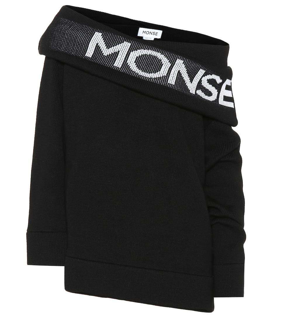 lana Negro logo con Blanco Sudadera de Monse RqSIAwwZ