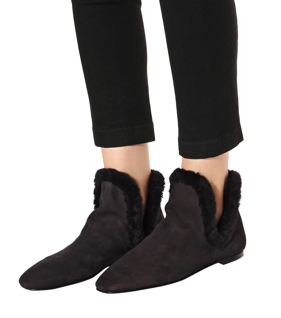 The Row Ankle Boots Eros aus Veloursleder