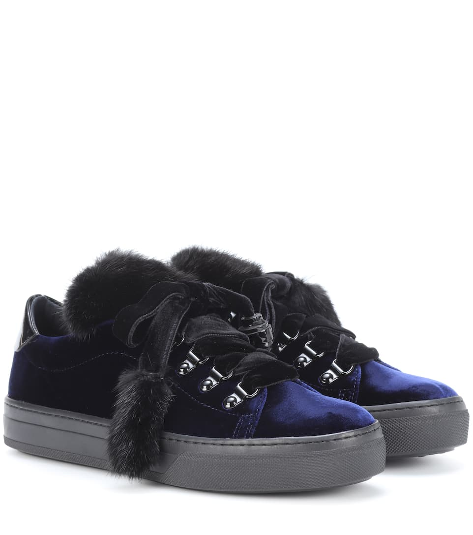 FUR-TRIMMED VELVET SNEAKERS