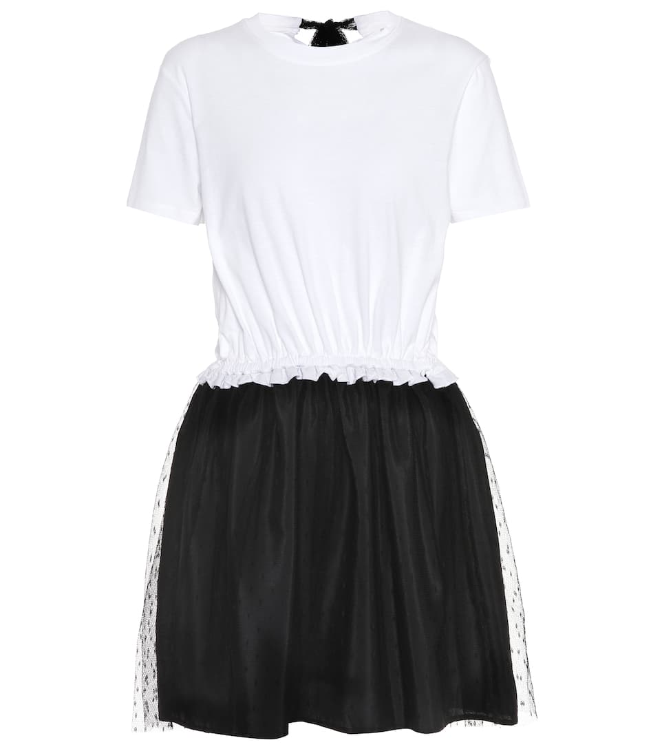 REDValentino Cotton-blend dress White/Black Fashion Style Cheap Price Browse For Sale Low Cost From UK Cheap Price MY8R1DDc