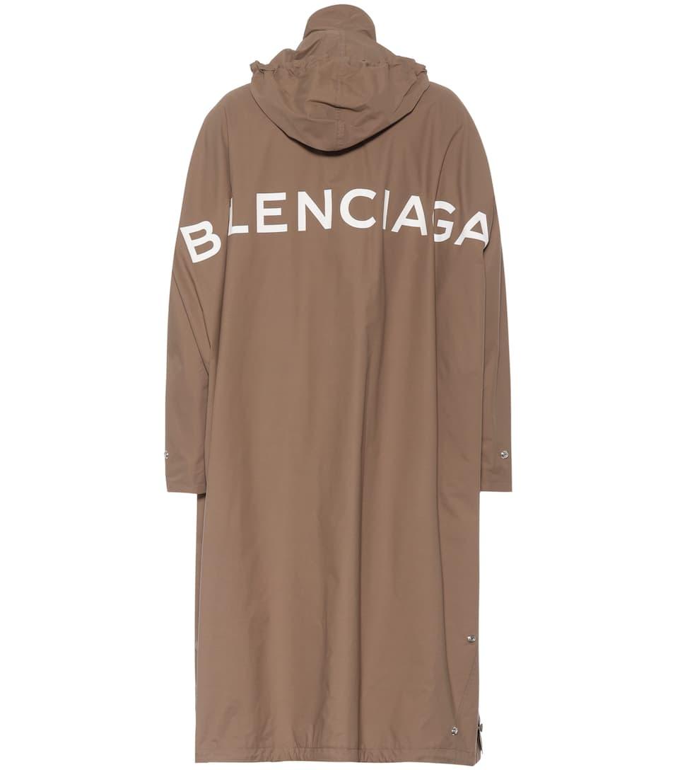 Oversized Opera Nylon Raincoat W/ Logo, Brown