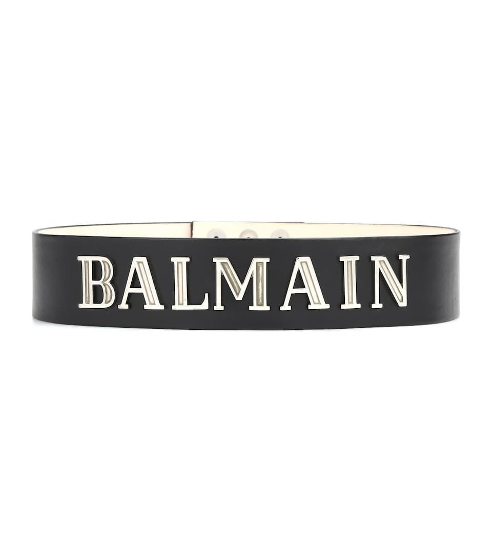 Embellished Leather Belt in Black