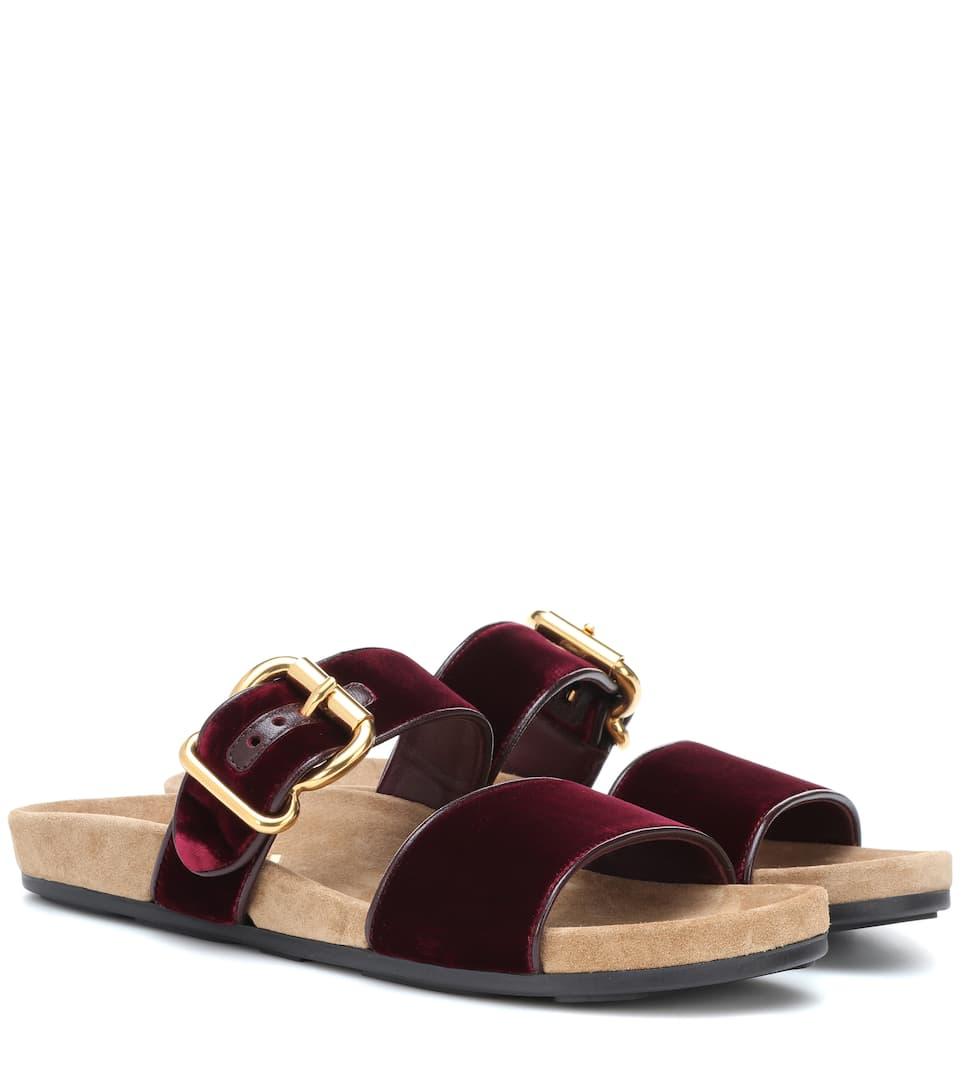 e8b4dbaf8 Velvet Slip-On Sandals - Prada
