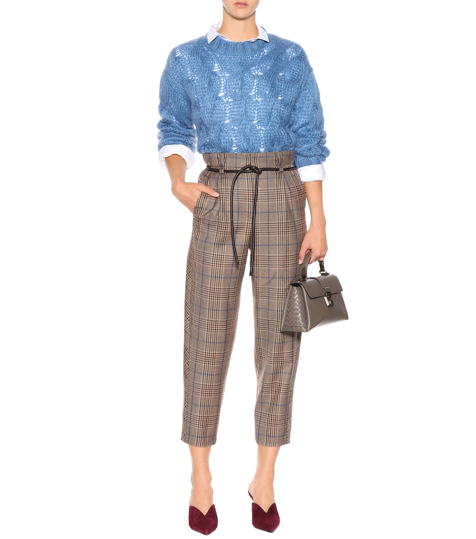 Buy Cheap Best Wholesale Clearance Nicekicks Brunello Cucinelli Checked wool pants Brown/Blue 2018 Newest fBZbgRB0