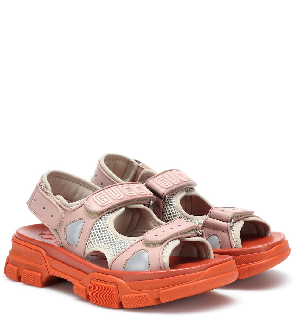 8e691fd1721 Gucci - Leather and mesh sandals