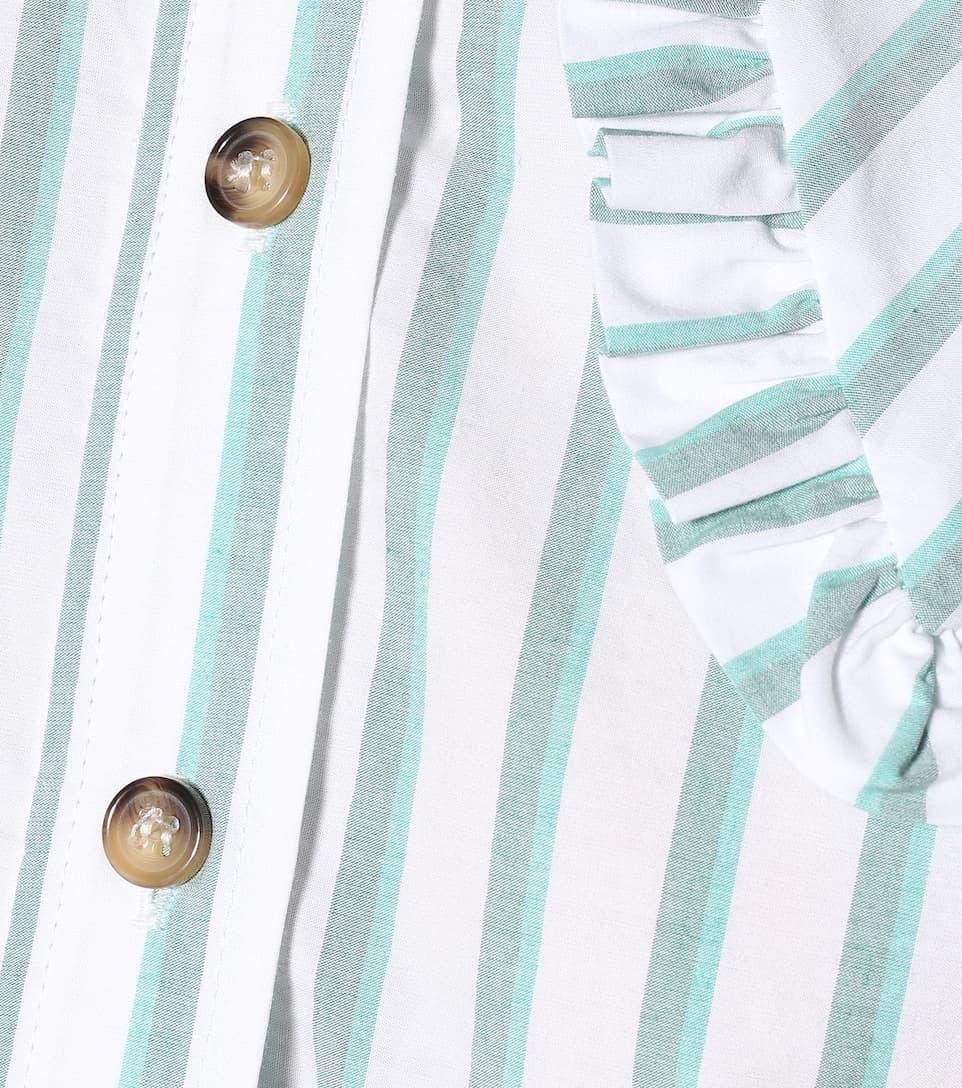 Ganni - Feathery striped cotton shirt