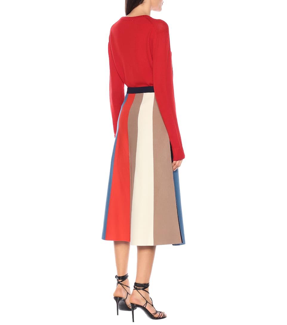 Victoria Victoria Beckham - Striped midi skirt