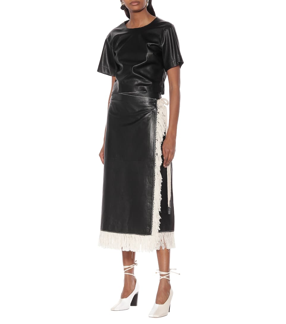 Stand Studio - Eve fringe-trimmed leather skirt