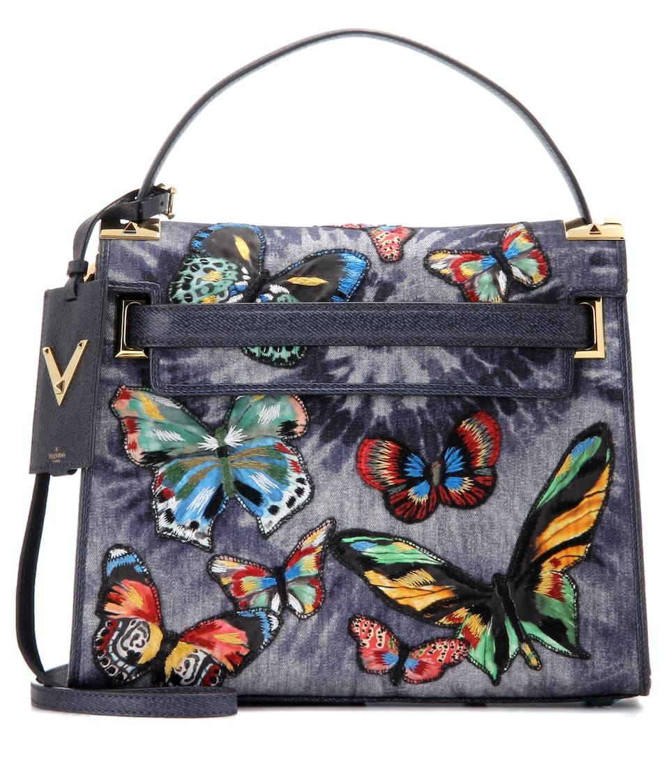 Valentino My Rockstud appliqué denim shoulder bag