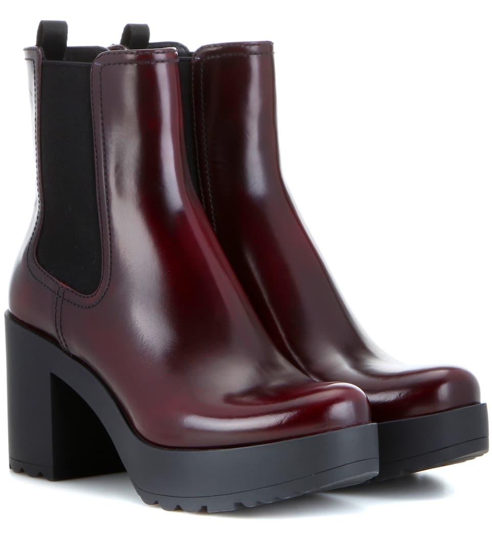 leather platform chelsea boots prada. Black Bedroom Furniture Sets. Home Design Ideas