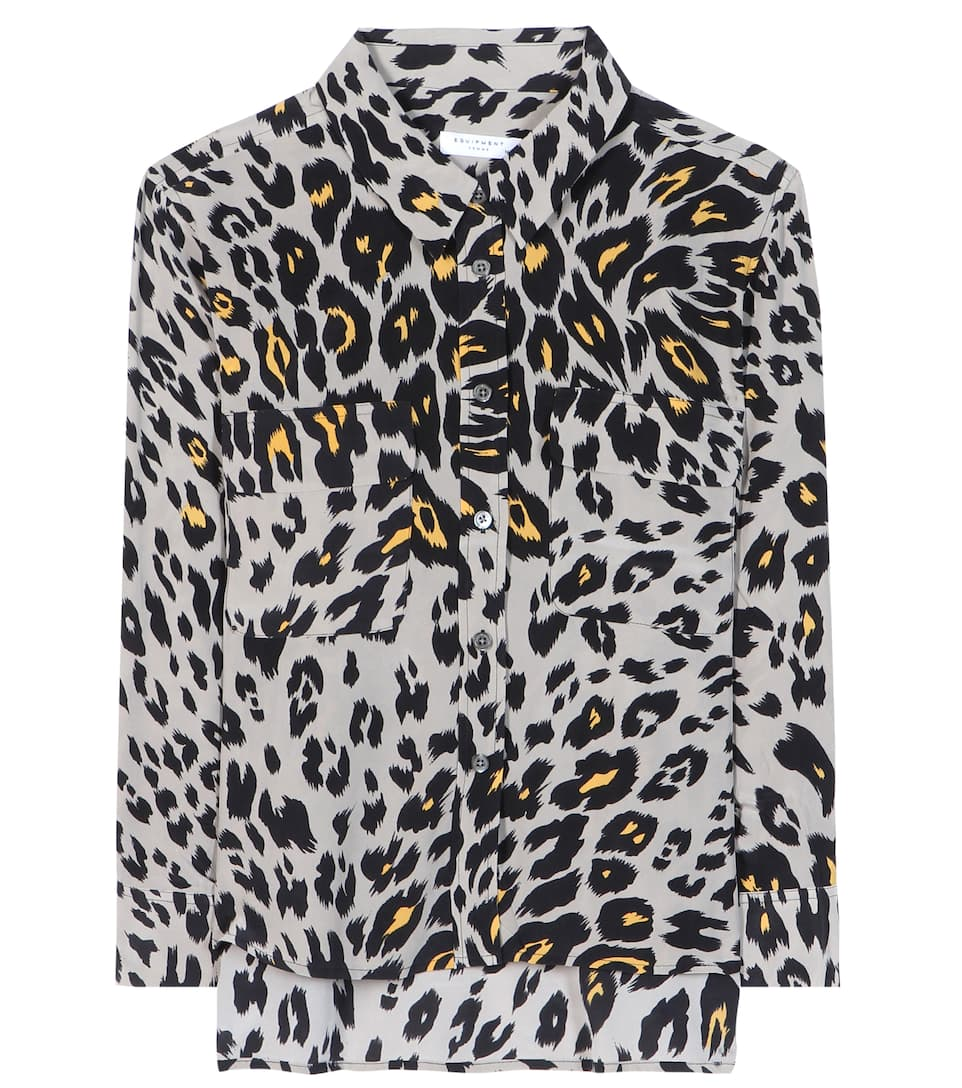 4fa13ca5a7 Equipment - Cropped 3 4 Sleeve Signature printed silk shirt