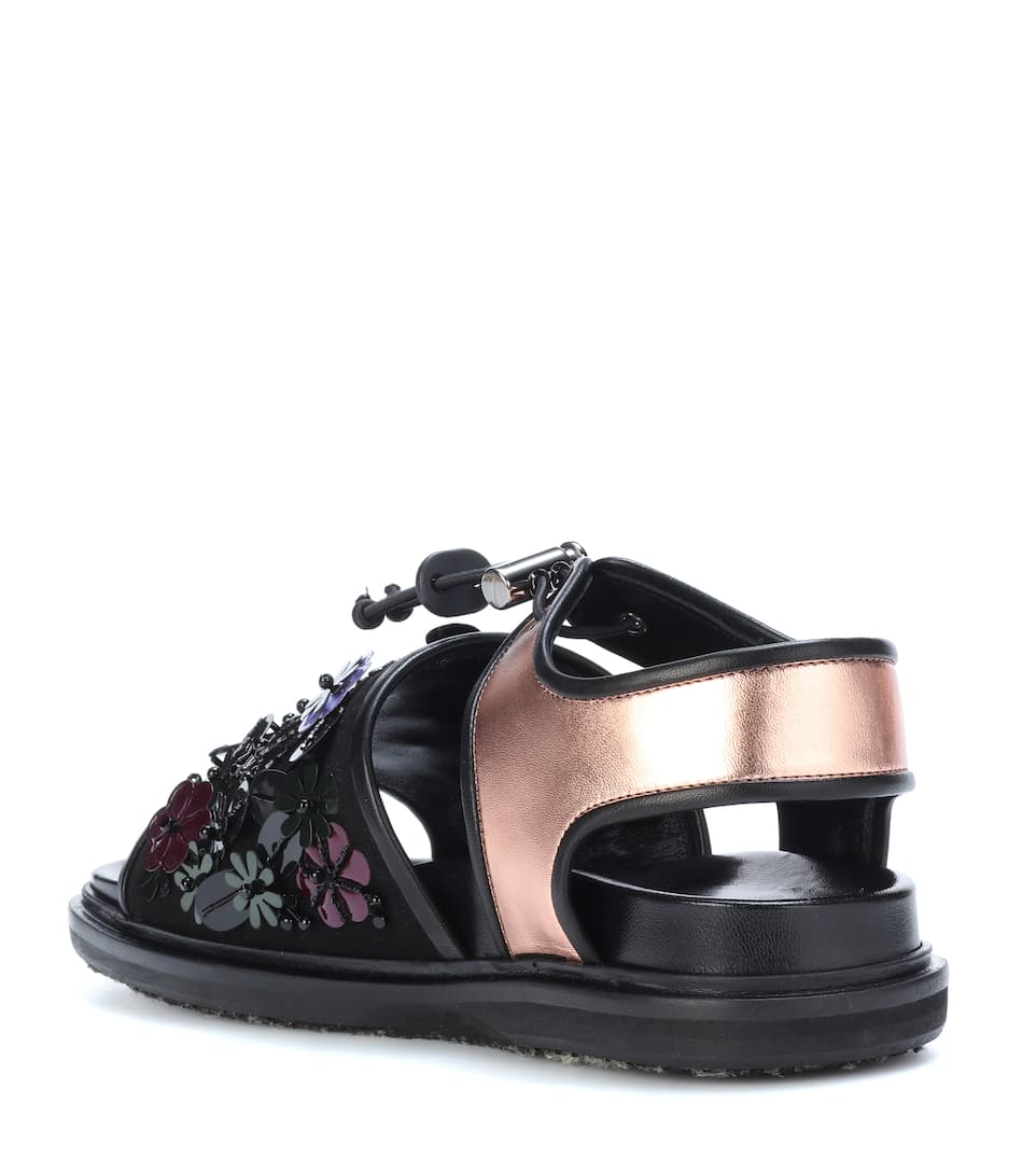 Marni Exclusively At Mytheresa.com - Studded Sandals From Metallic Leather