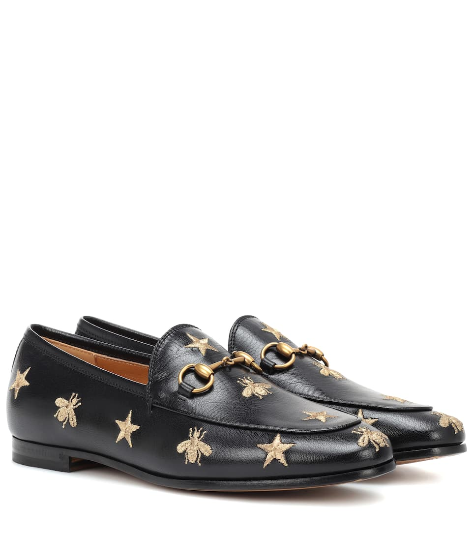 Jordaan Embroidered Leather Loafers by Gucci