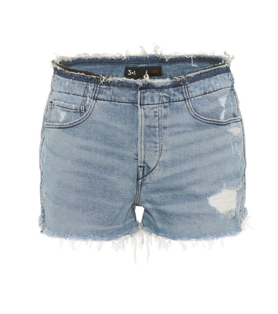 stripped shelter denim shorts