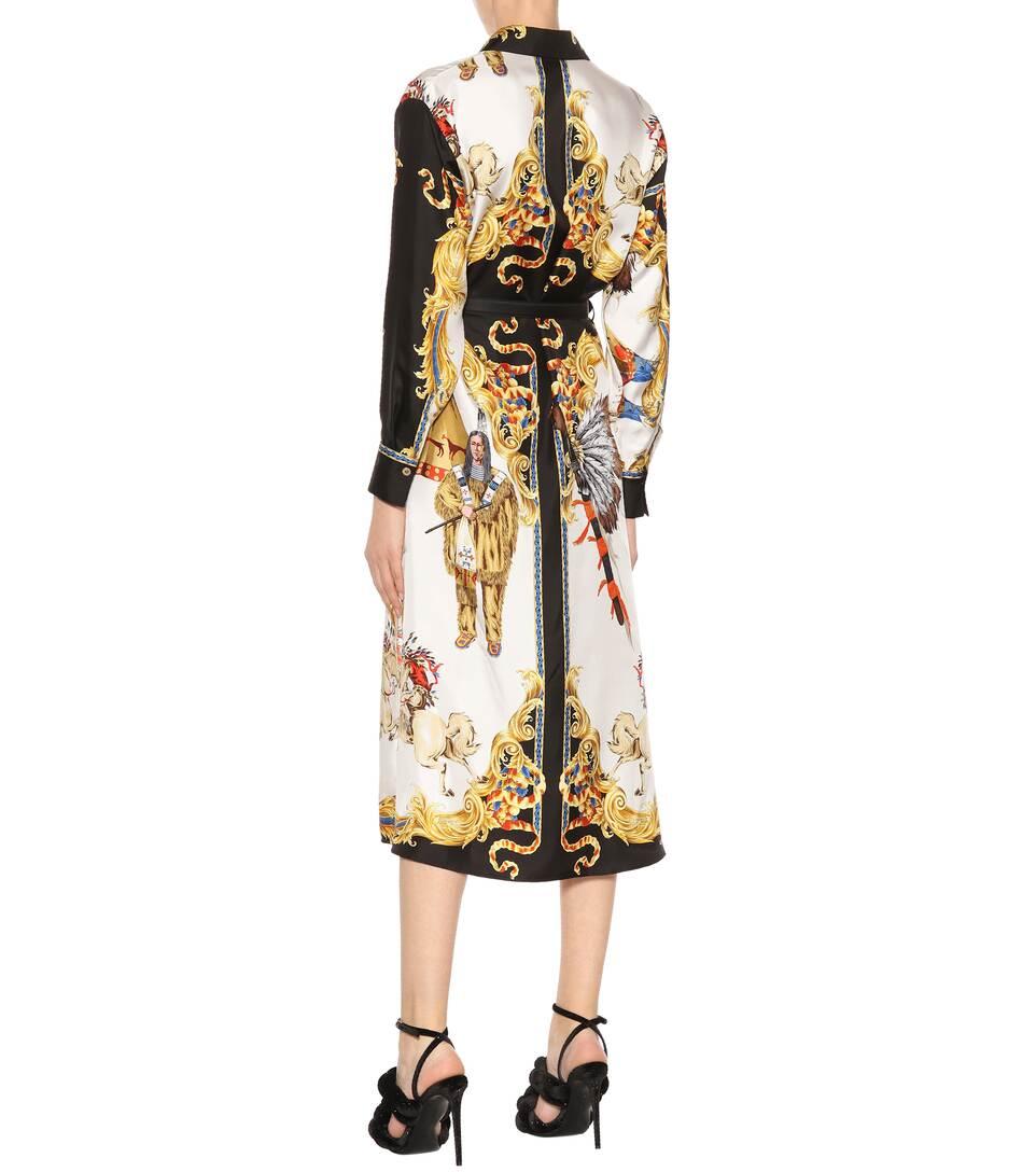Robe En Soie Imprimée - Versace Meilleur Endroit Prix Pas Cher Professionnel En Ligne Jc8DhhU