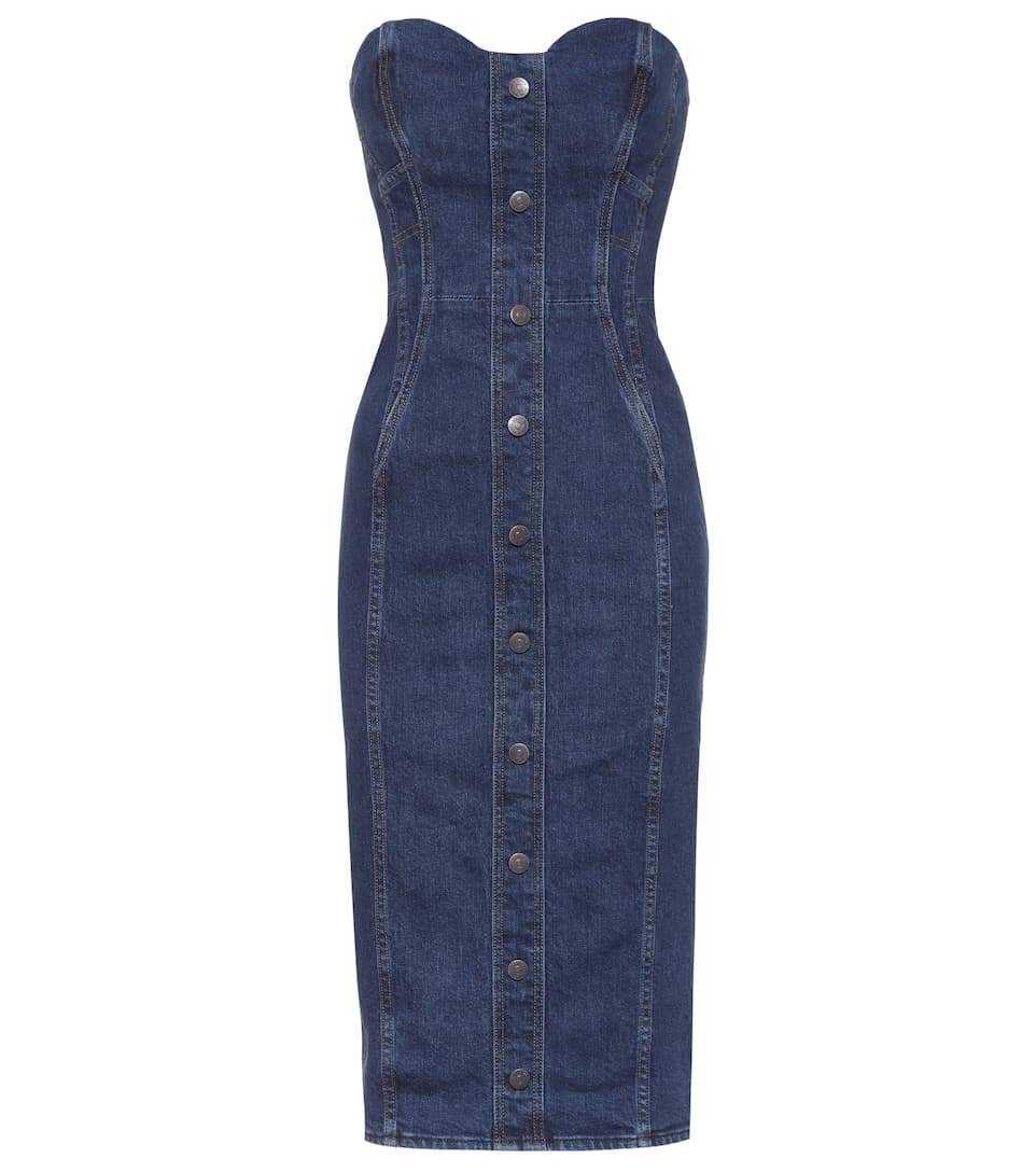 Denim Bustier Dress by Veronica Beard
