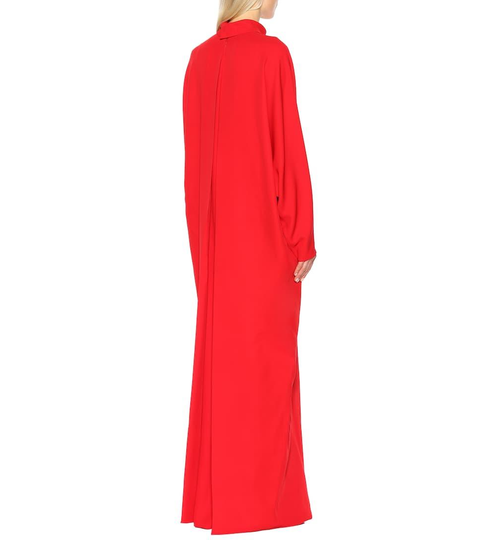 de vestido alto maxi Valentino Seda ROJO cuello 4FgvWSn