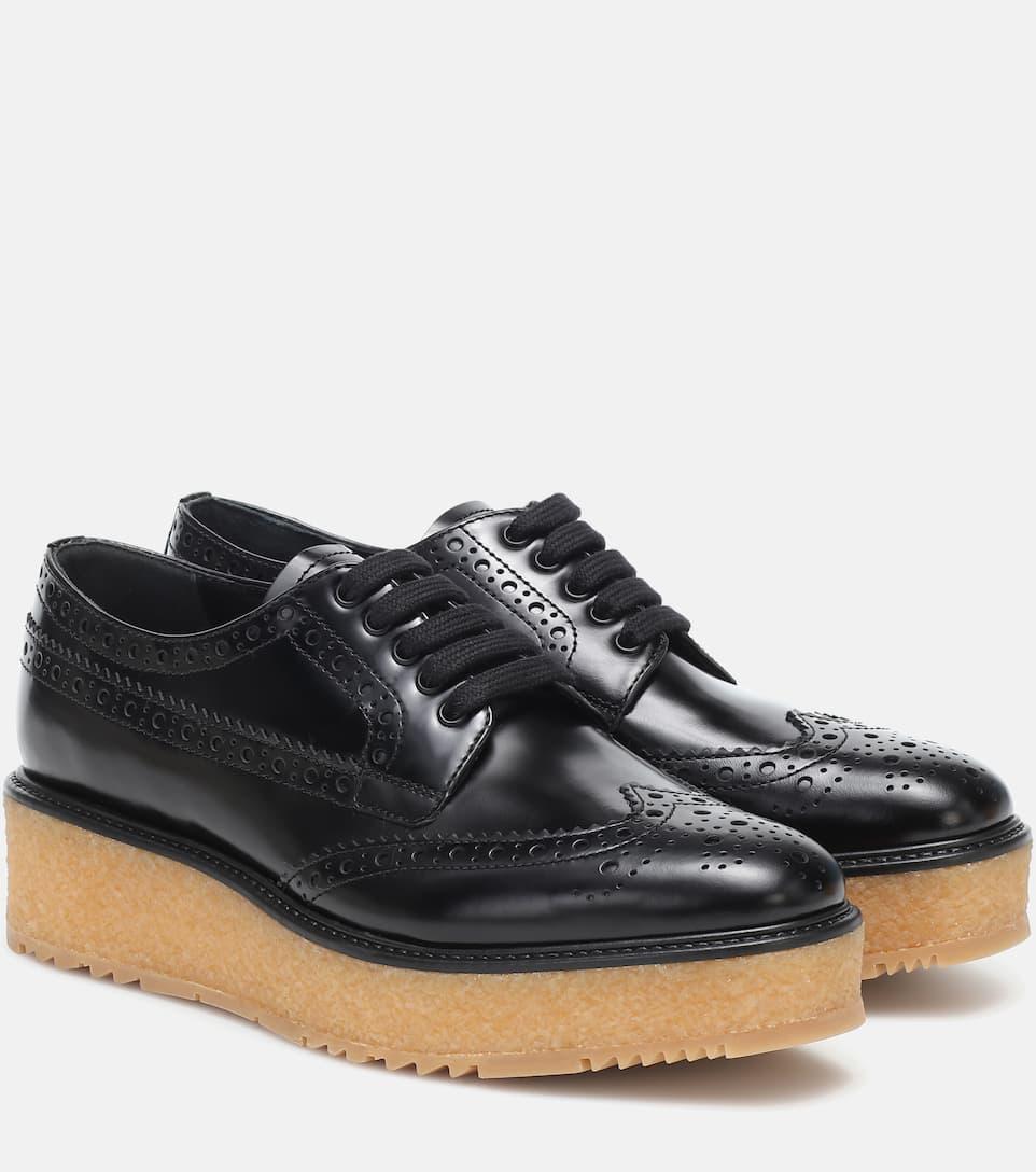 Leather Platform Brogues - Prada