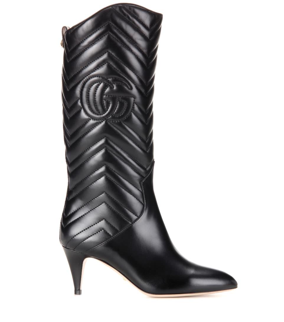 Kniehohe Stiefel aus Matelassé-Leder