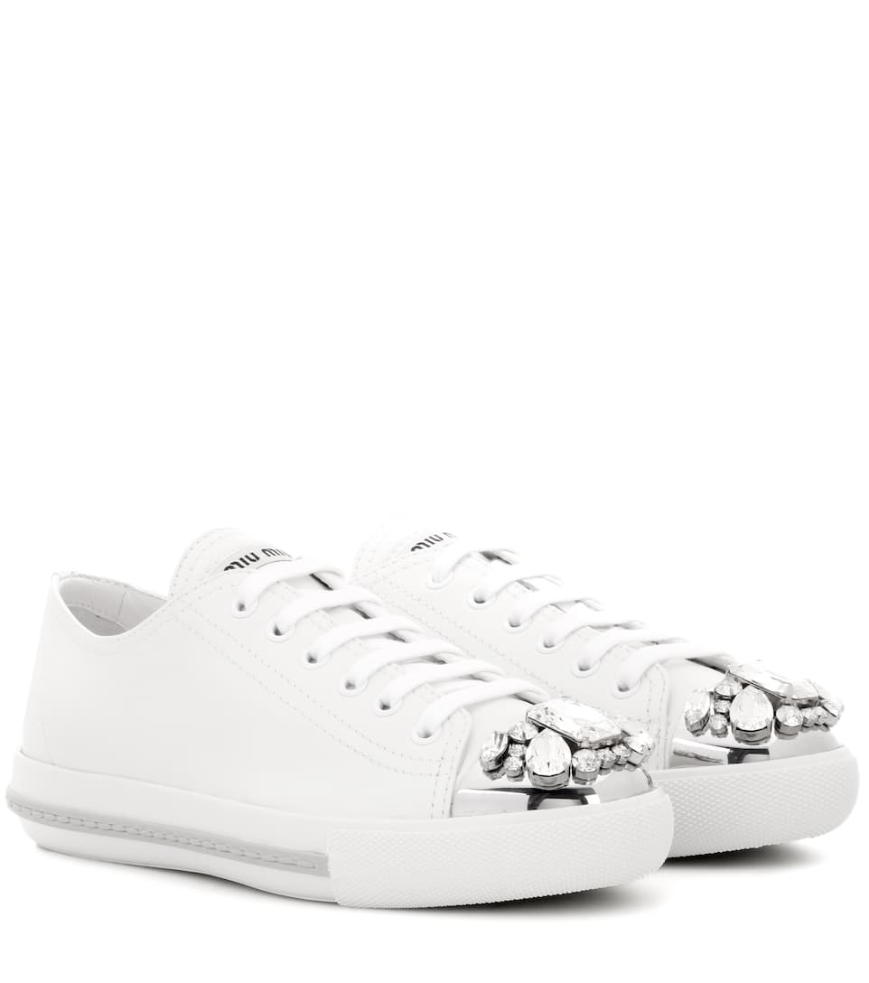 great look reasonably priced check out Crystal-Embellished Leather Sneakers ▻ Miu Miu | mytheresa.com