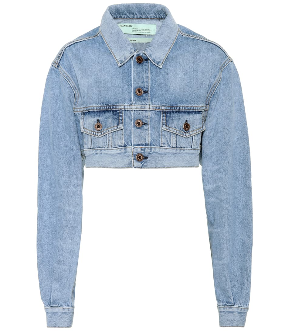 Off-White - Cropped cotton denim jacket | mytheresa.com