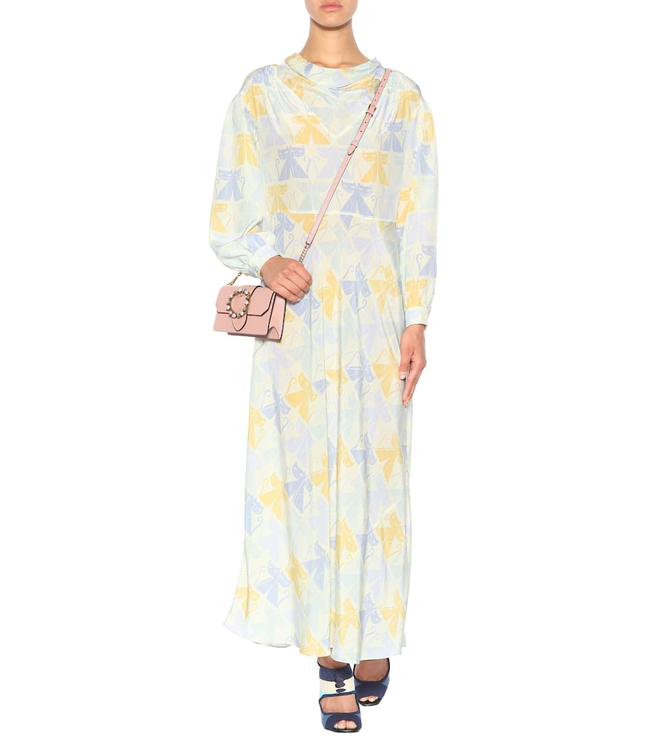 Miu Miu - Robe en soie imprimée Les Sites De Vente wQJNEg17iS