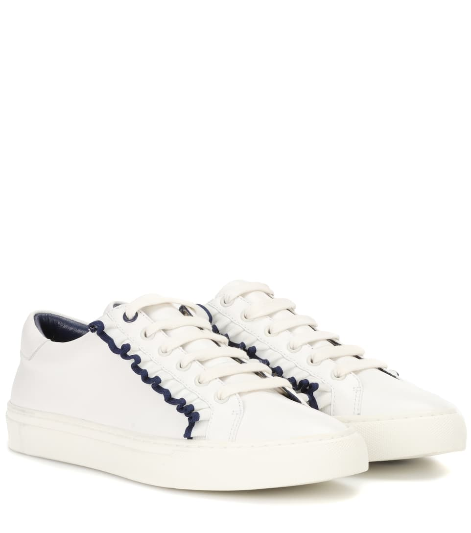 TORY SPORT Ruffle Leather Low-Top Sneakers in Snow White/Navy Sea
