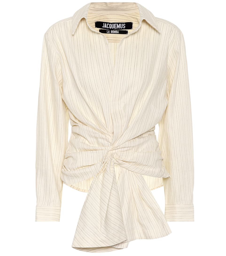 La beige Olhao a rayas top lino Chemise Jacquemus aqxd4wB0a