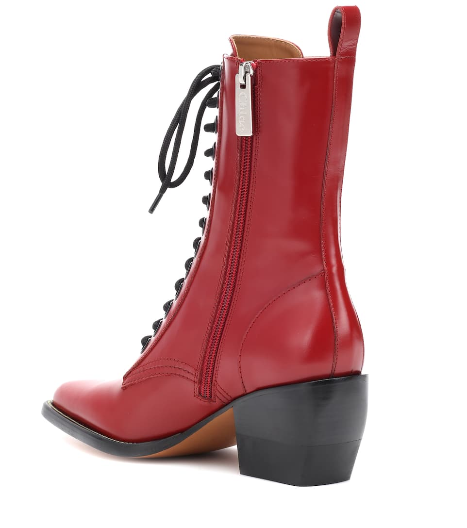 Free Shipping Brand New Unisex Chloé Rylee Medium leather ankle boots Intense Red Fashion Style For Sale bVRNKkz