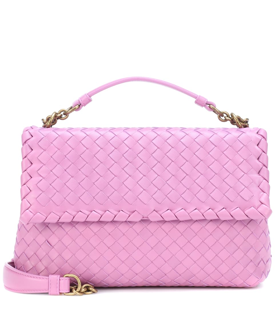 Olimpia Small Intrecciato Leather Shoulder Bag, Pink