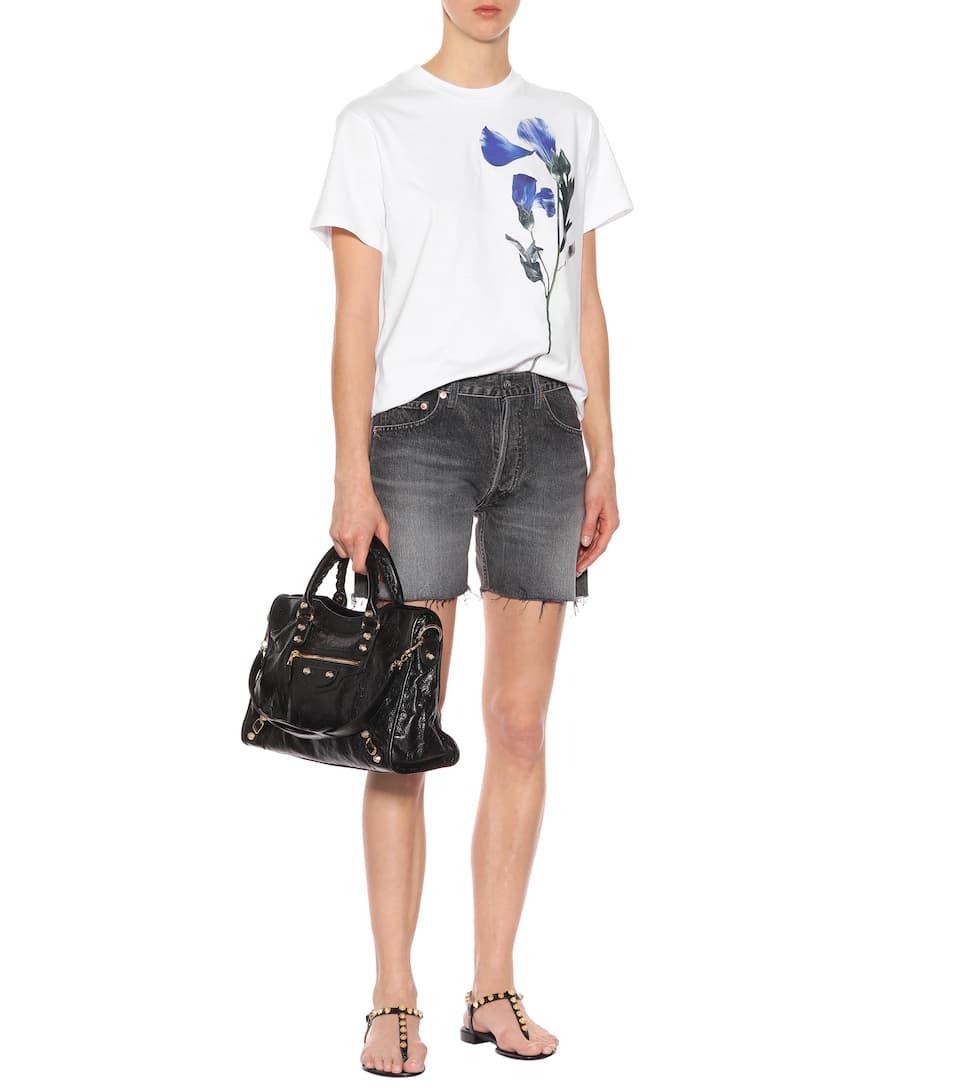 Azul Golden Camiseta Deluxe con de estampado Blanco Brand algodón Flor Goose floral qqvr7T