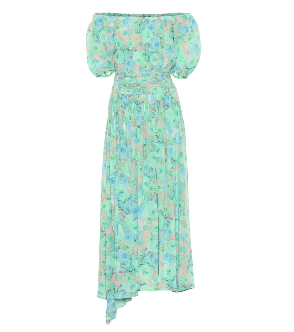 Prada Robe Encolure En À Soie Bardot 0vNnmw8