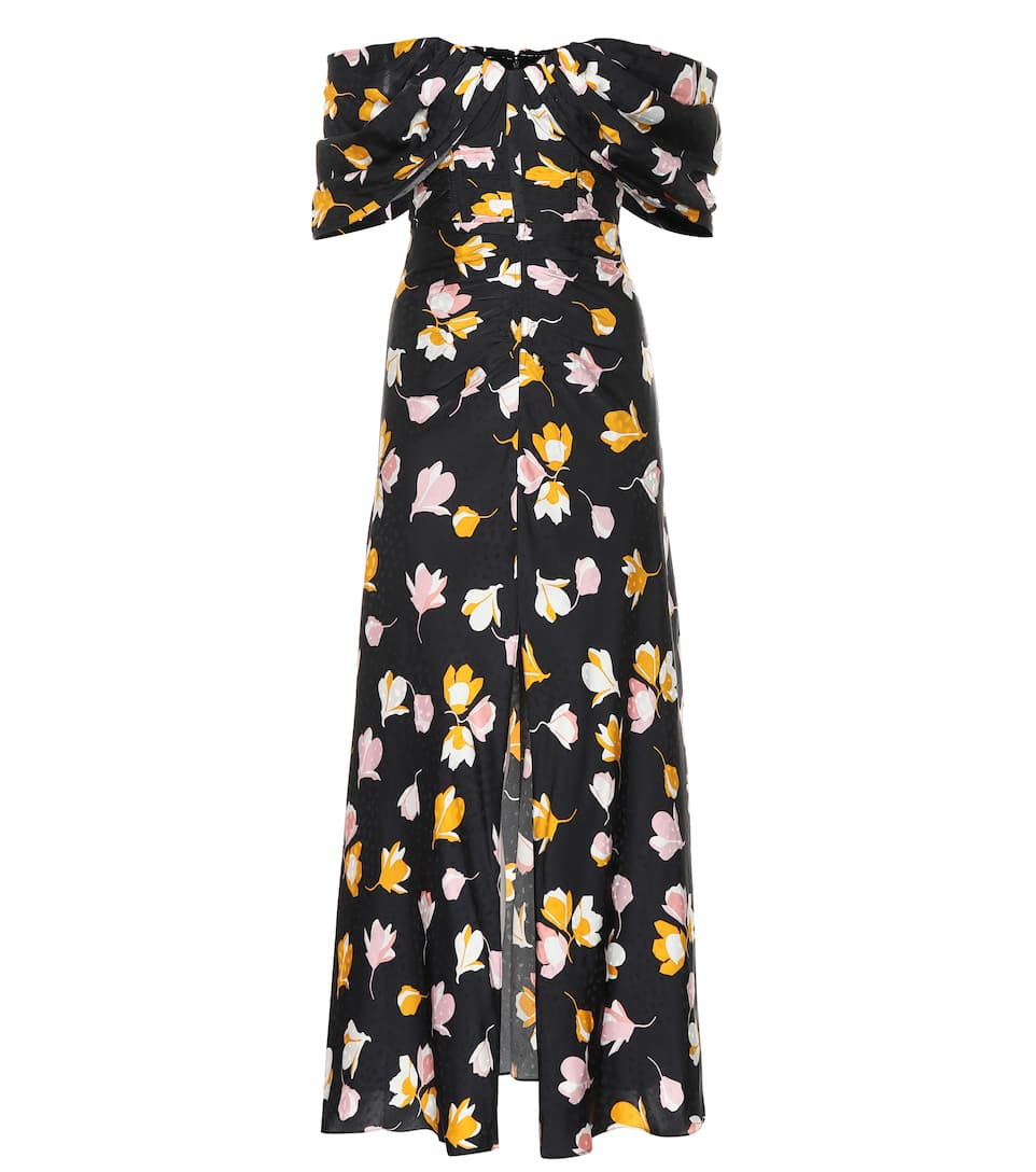 Dark Floral Bardot Dress