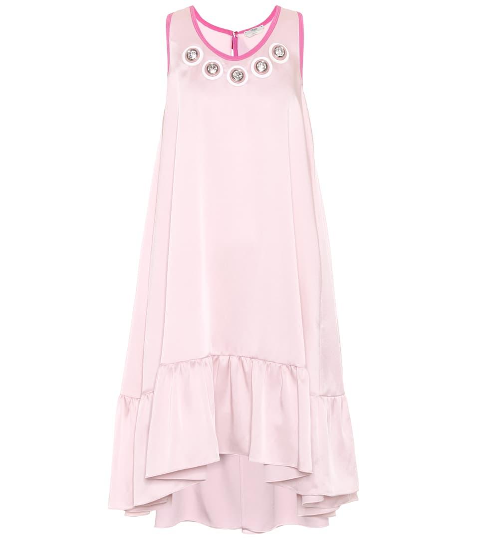 Fendi Exklusiv bei mytheresa.com – Verziertes Kleid aus Satin Verkauf Komfortabel Versorgung Verkauf Online Günstig Kaufen Sammlungen KYC3Xd