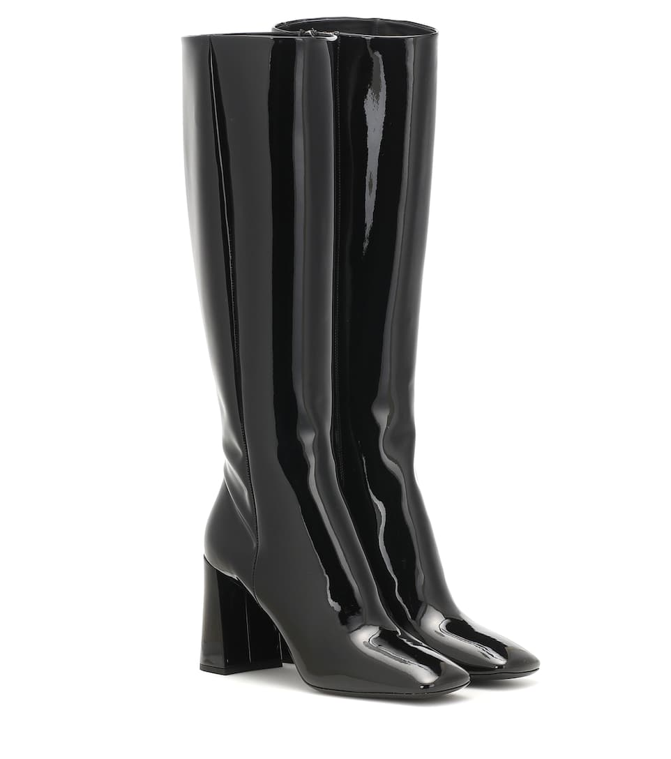 Knee high patent leather boots