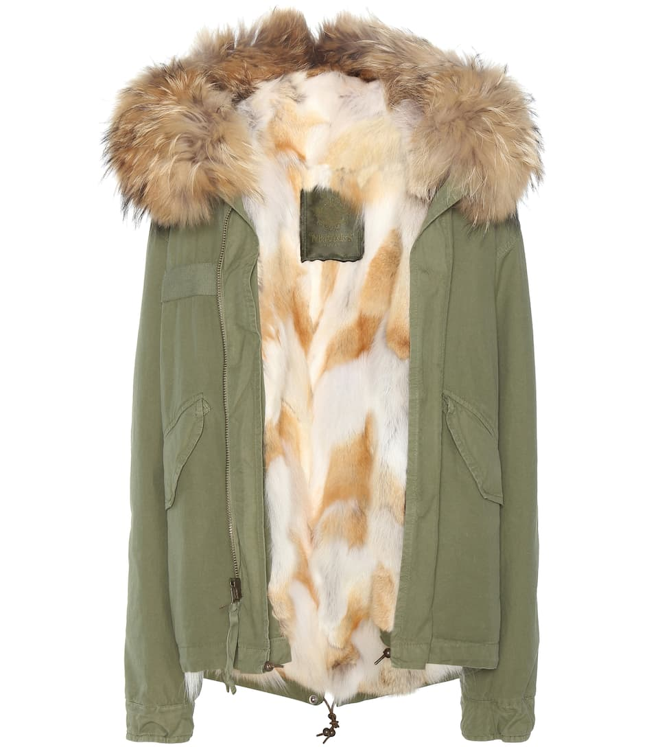 Mr & Mrs Italy Mini Army fur-lined parka with fur-trimmed hood
