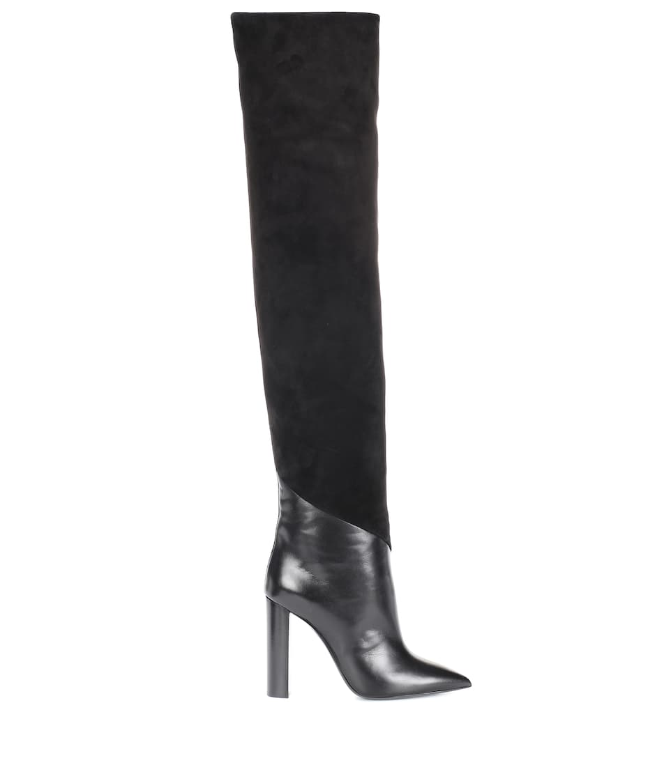 Saint Laurent Boots Overlay From Velor And Smooth Leather