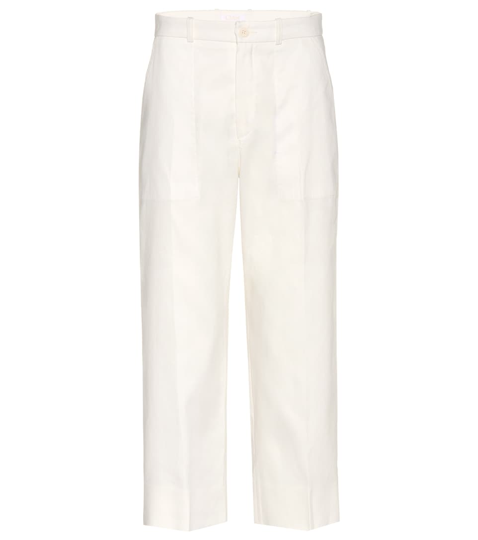 Linen and cotton cropped trousers Chlo eyxrRiN50