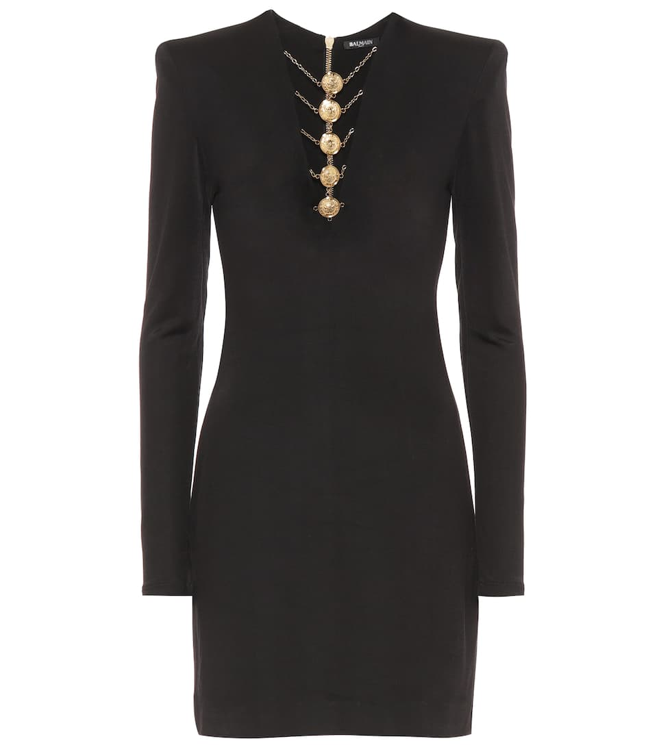 Balmain Embellished jersey dress Noir View YSKYm88F